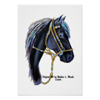 Black Horse Head Posters