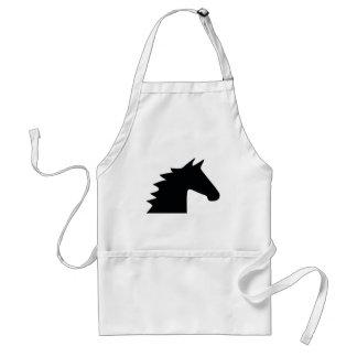Black Horse Head Silhouette Elegant Adult Apron