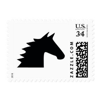 Black Horse Head Silhouette Elegant Postage