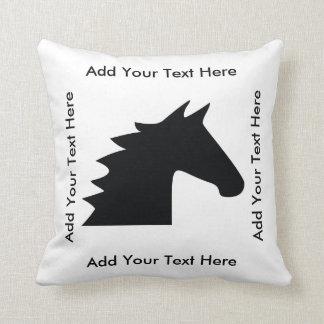 Black Horse Head Throw Pillow