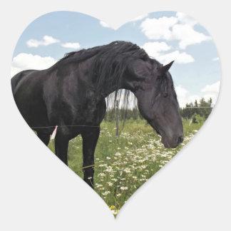 Black Horse Heart Sticker