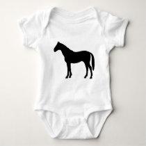 black horse - horses baby bodysuit