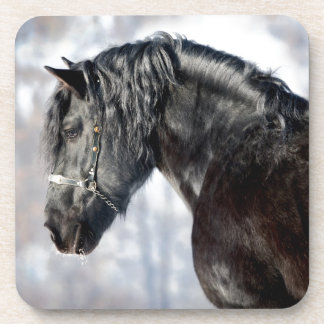 Black horse in forest beverage coaster