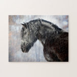 Black horse in forest jigsaw puzzle