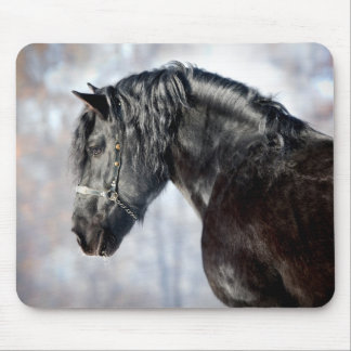 Black horse in forest mouse pad