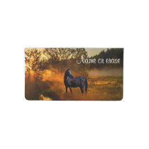 Black horse  in morning mist checkbook cover