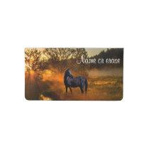 Black horse  in morning mist checkbook cover