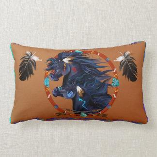 Black Horse Mandala Lumbar Pillow