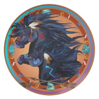 Black Horse Mandala-Two Painted Mustangs. Dinner Plate