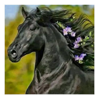 black horse mane flowered, Paper poster