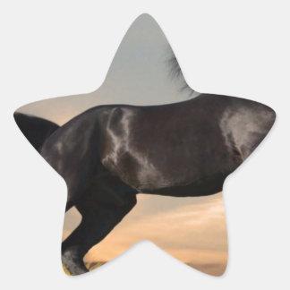 black horse on desert star sticker