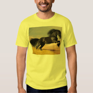 black horse on desert yellow tee shirt