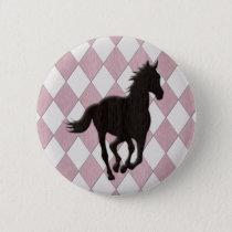 Black Horse on Pink White Diamond Pattern Button