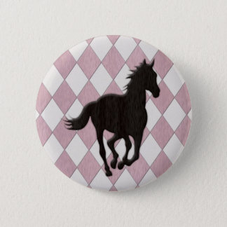Black Horse on Pink White Diamond Pattern Button