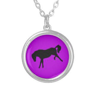Black Horse On Purple silhouette Necklace