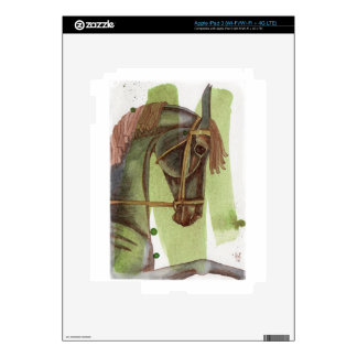 Black Horse On Serpentine Watercolor Wash Skin For iPad 3