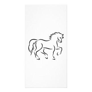 Black horse photo card