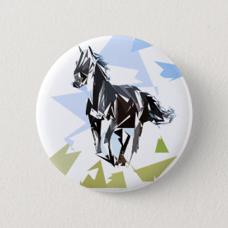 Black horse pinback button