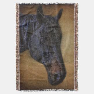 Black Horse Portrait on Rustic Parchment effect Throw