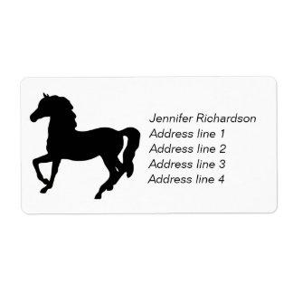 Black horse prancing custom address labels