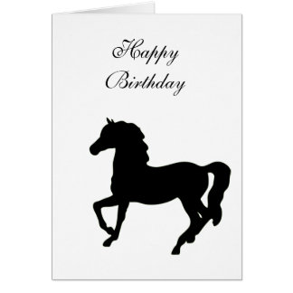 Black horse prancing silhouette birthday card