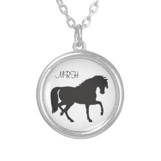 Black Horse Prancing  Silhouette Initials Monogram Round Pendant Necklace