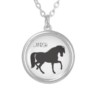 Black Horse Prancing  Silhouette Initials Monogram Silver Plated Necklace