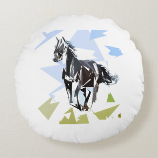 Black horse round pillow