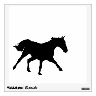 Black horse running wall decal