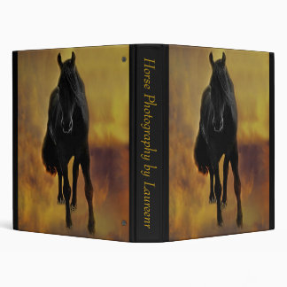 Black Horse Silhouette 3 Ring Binder