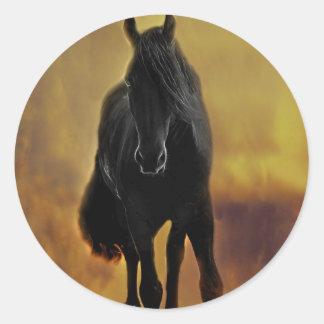 Black Horse Silhouette Classic Round Sticker