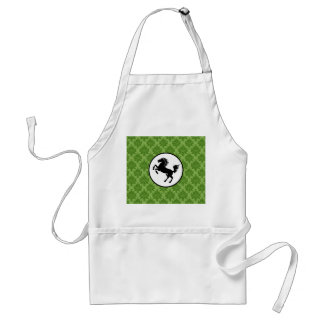 Black Horse Silhouette on Green Pattern Adult Apron