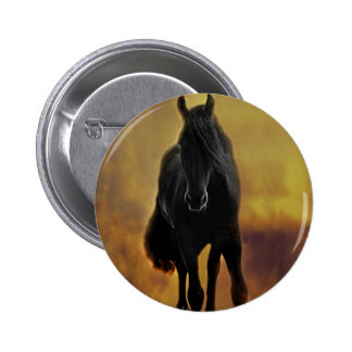 Black Horse Silhouette Pinback Button