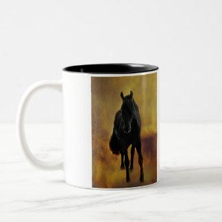 Black Horse Silhouette Two-Tone Coffee Mug