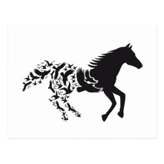 Black horse silhouette with flying birds postcard
