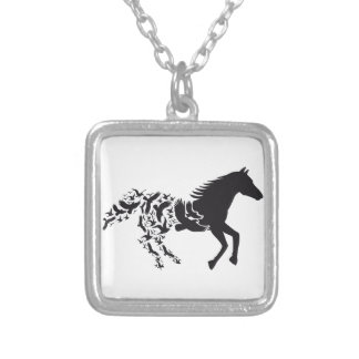 Black horse silhouette with flying birds square pendant necklace