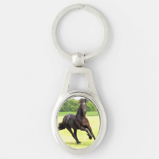 Black Horse Silver-Colored Oval Metal Keychain