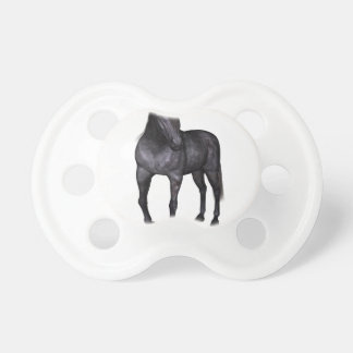 Black Horse Standing Baby Pacifier