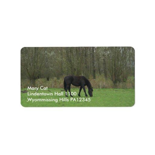 Black Horse walking Label