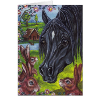 BLACK HORSE Wild Rabbits Note Card
