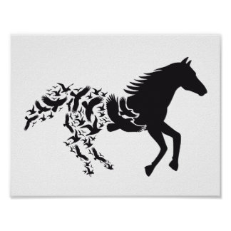 Black horse with flying birds, poster
