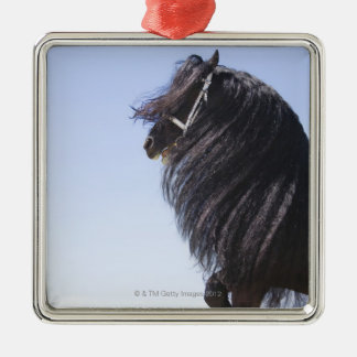 black horse with long mane metal ornament