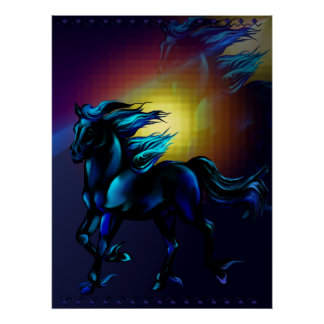 Black Horse with Reflections Print