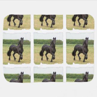 Black Horse Stroller Blanket
