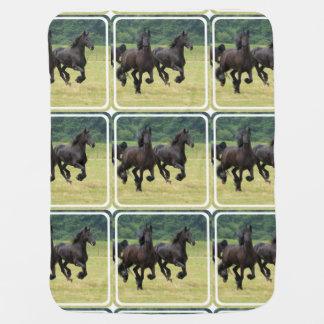 Black Horse Swaddle Blanket
