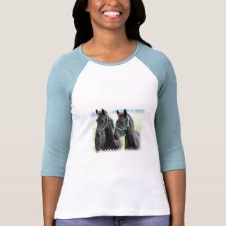 Black Horses Design Baseball Shirt