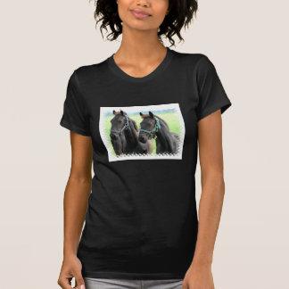 Black Horses Design Black Ladies T-Shirt