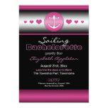 Black & Hot Fuchsia Nautical Bachelorette Party Custom Invitation