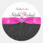 "Black, Hot Pink, and White 1.5"" Round Sticker"