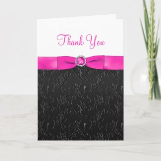 Black, Hot Pink and White Thank You Card card